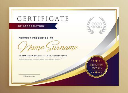 conception de modèle de certificat élégant dans un thème doré