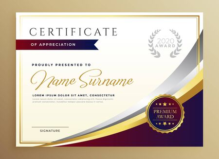 stylish certificate template design in golden theme