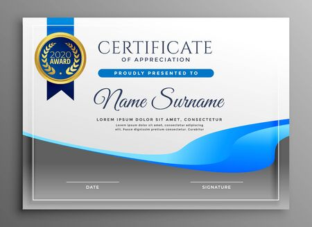 modern certificate of appreciate template Vektoros illusztráció