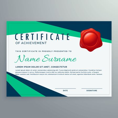 modern geometric certificate design in blue and green shapes