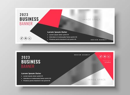 stylish red geometric business banner design
