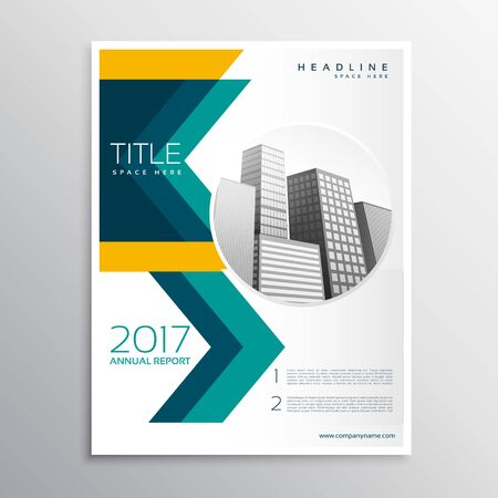 annual report business brochure template design with arrow style shape