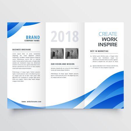 creative tri-fold brochure design template with trndy wave style Vector Illustratie