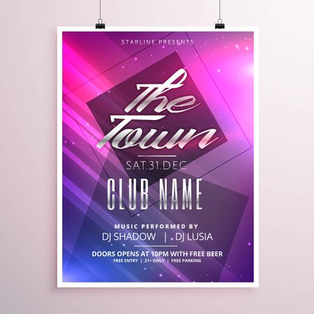 colorful music party flyer poster template with light streaks Vector Illustration