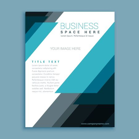 blue abstract business flyer brochure design template in geometric style