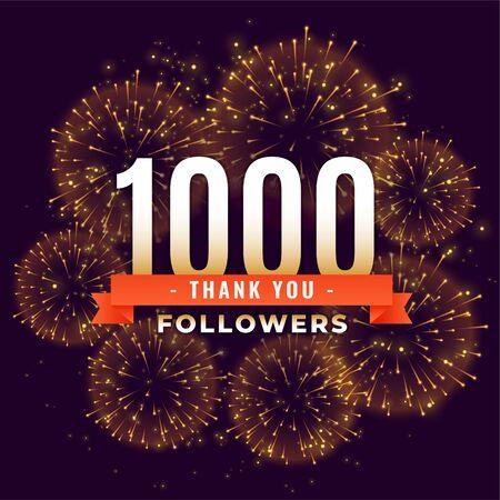 1000 followers thank you celebration firework template Ilustracja