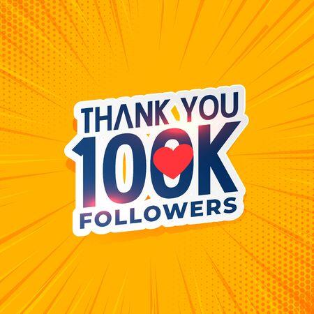 100k social media network followers yellow background