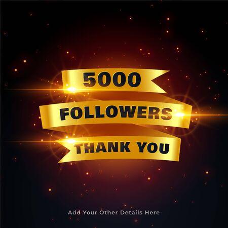 5000 followers thankyou celebration background in golden style