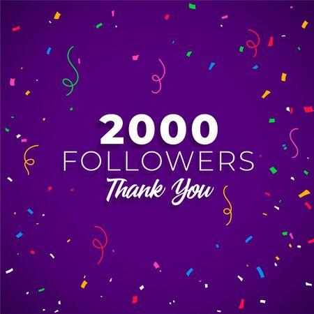 2000 followers network of social media Ilustracja