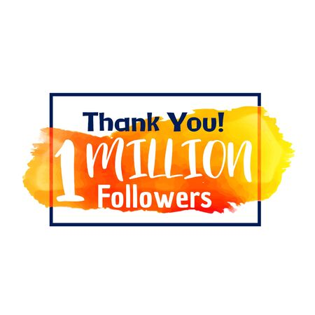 1 million followers success thank you for social network Vector Illustration