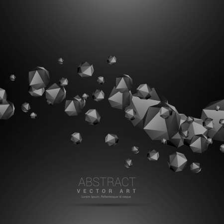 dark polyhedrons flowing wave dark background