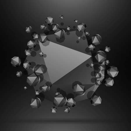 black polygonal particles background 向量圖像