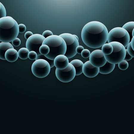 group of molecules floating in dark background with light effect