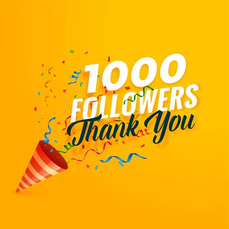 1000 followers thank you background with confetti