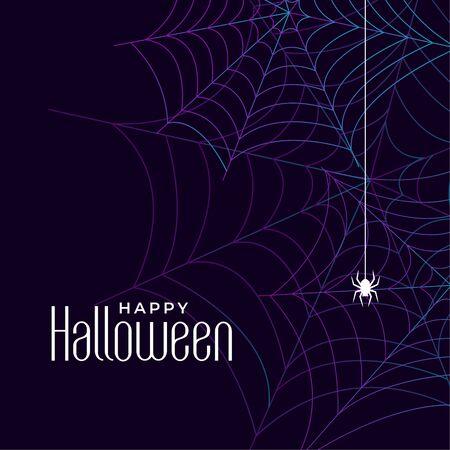 happy halloween cobweb background design with spider