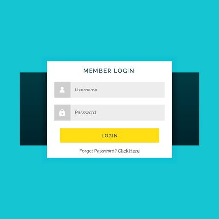 white member login form on blue background in flat style Иллюстрация
