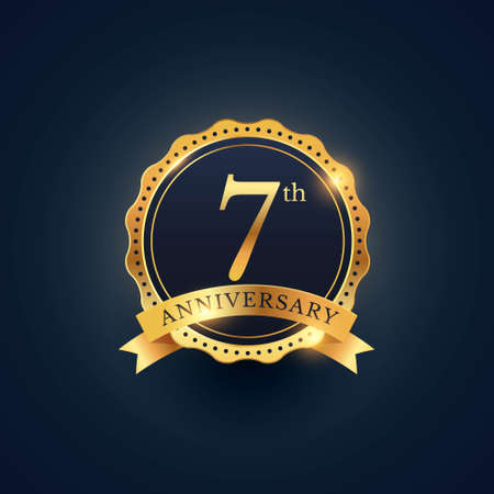 7th anniversary celebration badge label in golden color