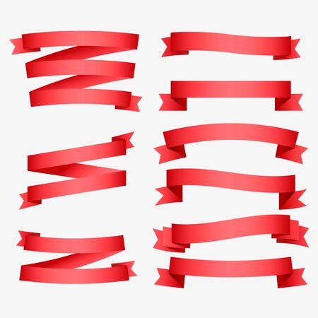 set of shiny red ribbons