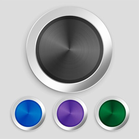 four realistic brushed metallic buttons set Иллюстрация