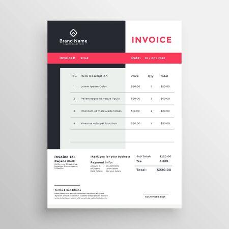 creative invoice temaplate design for your business Ilustração