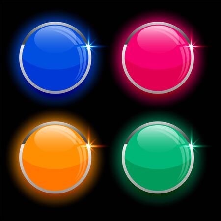 round circles shiny glass buttons in four colors Иллюстрация