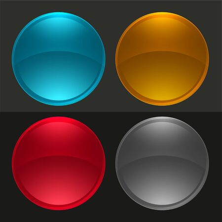 glossy round buttons or glass balls set