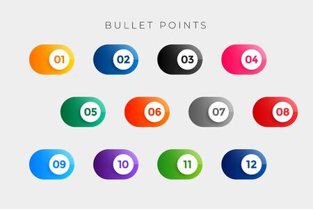 bullet points numbers in button style from one to twelve Иллюстрация