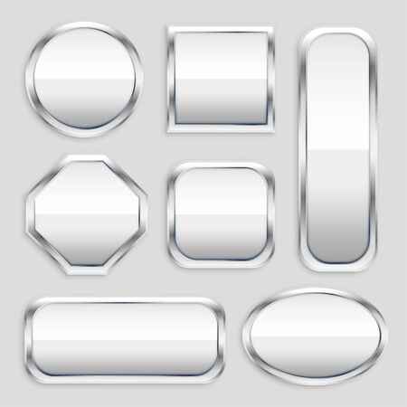 set of glossy metal button in different shapes