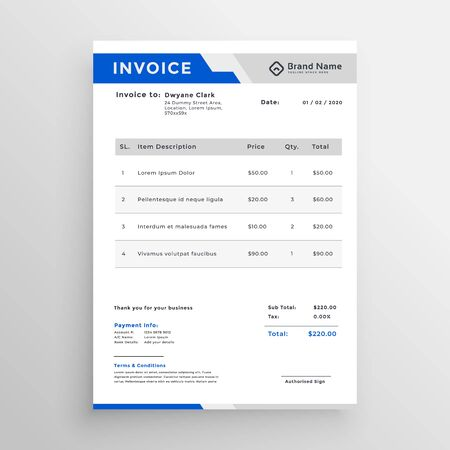 modern blue invoice template design