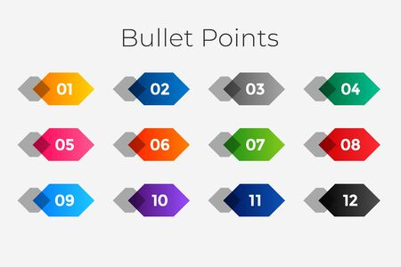 geometric number bullet points from one to twelve