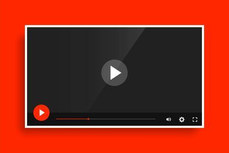 modern red video media player template design