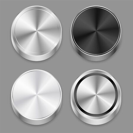 realistic circular 3d brushed metal icons set