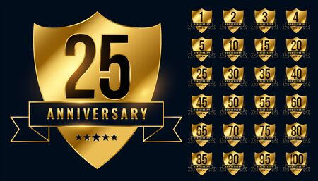 premium golden anniversary logotype emblem big set Vettoriali