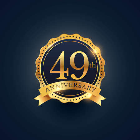 49th anniversary celebration badge label in golden color Illustration