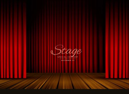 open red curtains stage, theater or opera background with wooden floor Vettoriali
