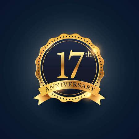 17th anniversary celebration badge label in golden color