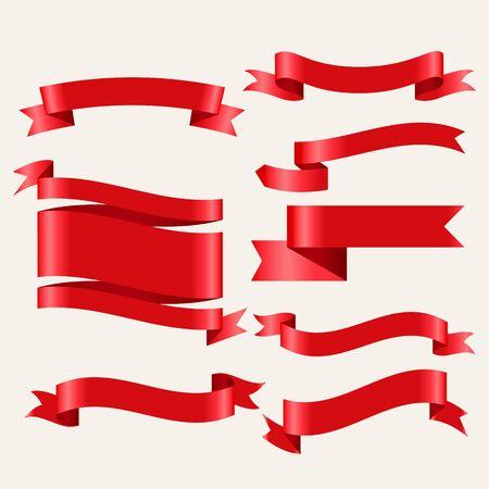 glänzende rote klassische Bänder im 3D-Stil Vektorgrafik