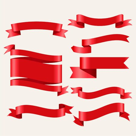 shiny red classic ribbons in 3d style Vecteurs