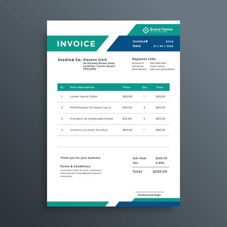 professional geometric invoice template design Vektorgrafik