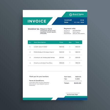 professional geometric invoice template design Vektoros illusztráció