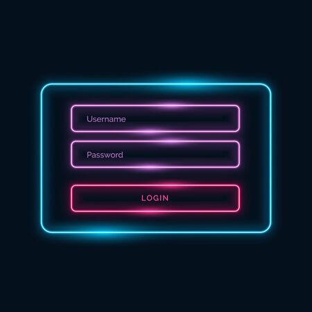 neon style login ui form design with shiny effect