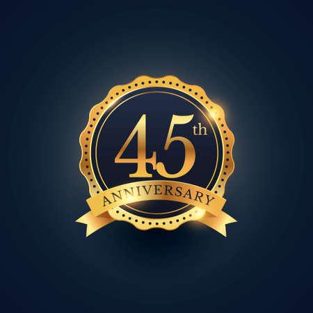 45th anniversary celebration badge label in golden color