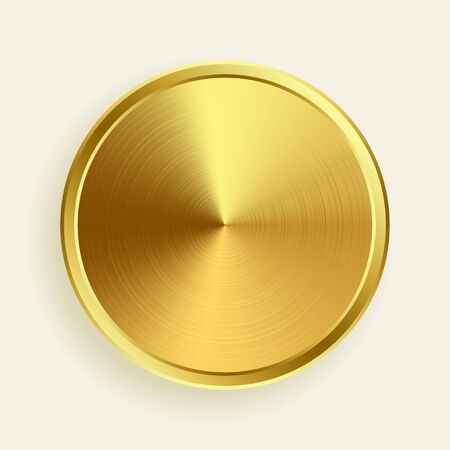 realistic gold metallic button in brushed surface texture