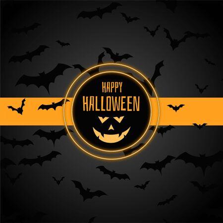 happy halloween stylish background with many bats Vecteurs