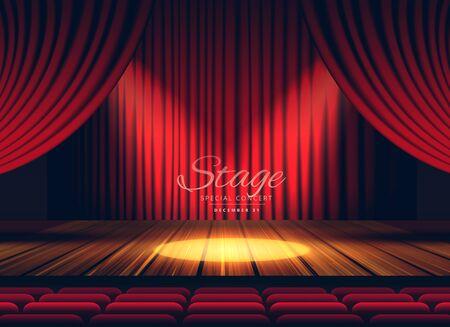 Fond de scène, de théâtre ou d'opéra de rideaux rouges haut de gamme avec projecteur