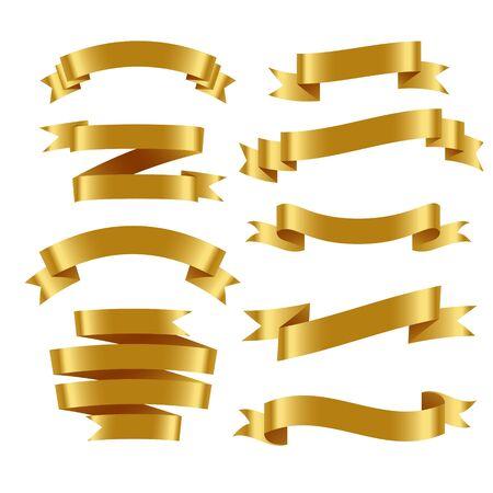 3d realistic golden ribbons set