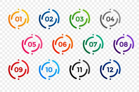 stylish one to twelve bullet points number set