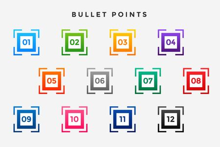 square business bullet points numbers set Иллюстрация