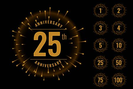 set of anniversary logotype emblem set