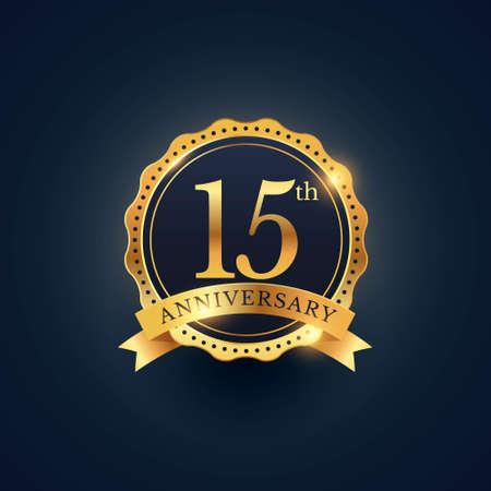 15th anniversary celebration badge label in golden color